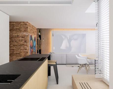 appartement esprit loft cuisine vue salon