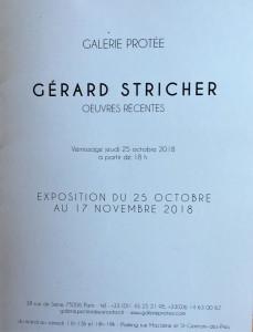 Galerie Protée  exposition Gérard STRICHER (œuvres récentes) 25 Octobre au 17 Novembre 2018