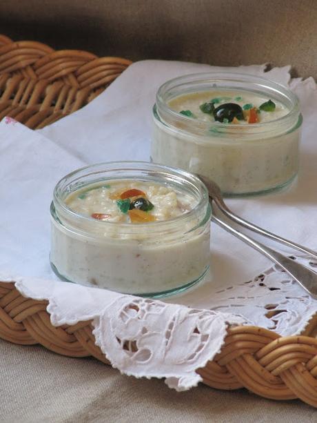 Riz au lait aux fruits confits macérés au Kirsch