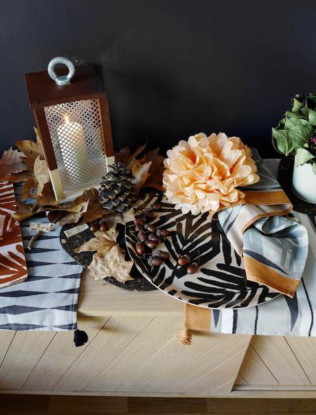 idée déco d'automne à faire soi même couleurs lanterne bougie buffet marius fleur papier décoration blog déco clem around the corner