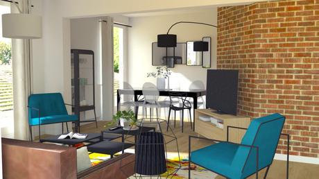 Un salon familial et fonctionnel - Côté salle à manger et son mur de brique, style industriel
