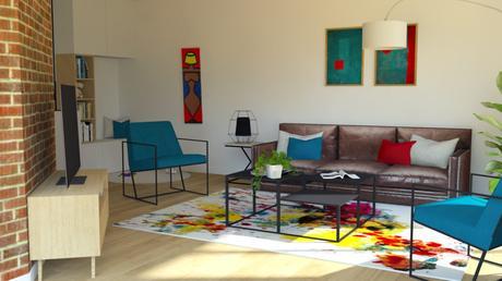 Un salon familial et fonctionnel - Décoration Arty et rangement sur mesure