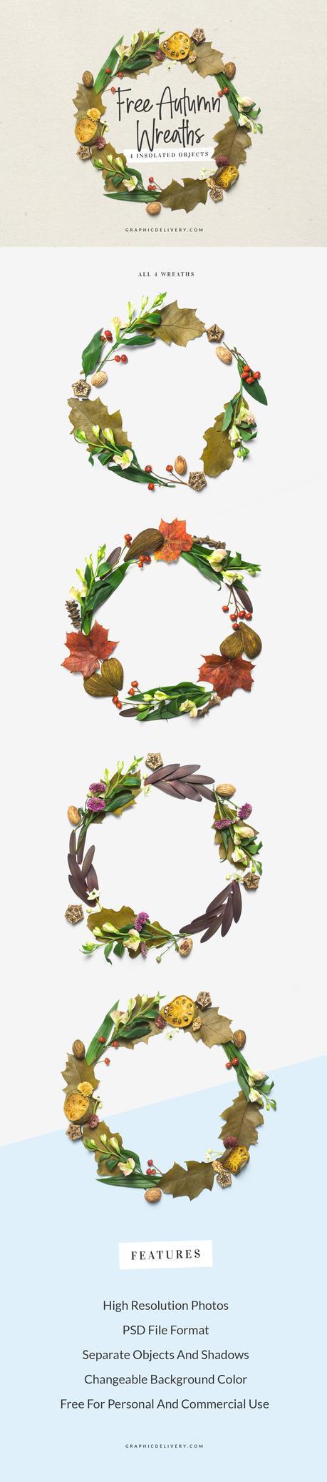 Mockup Couronnes de feuilles d'automne gratuits
