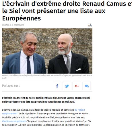 Renaud Camus rejoint le Siel pour une Europe pure… Paix à son âme.