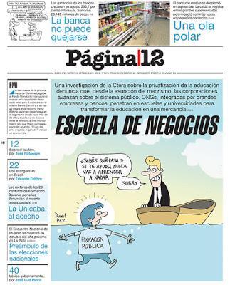 Página/12 dénonce l'entrisme du privé dans l'école publique [Actu]