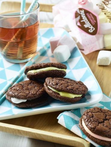 Recette bio : Whoopie pies chocolat bio et crème de guimauve bio Belledonne