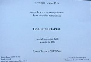 Galerie Chaptal  Nouvelles acquisitions à partir du 25 Octobre 2018