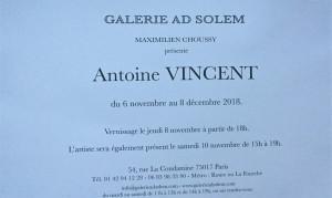 Galerie AD SOLEM  exposition Antoine VINCENT  6 Novembre au 8 Décembre 2018