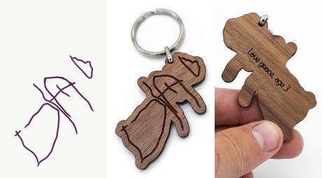 Porte-clés, accessoires, réalisés à partir de coloriages ...