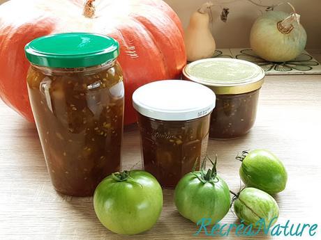 Confiture de Novembre aux Tomates Vertes, à la Banane, au Gingembre et à la Cannelle