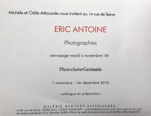 Galerie Michèle et Odile AITTOUARES   « Eric Antoine » photographies 7/11 au 1er/12/2018