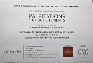 ARTS D'AUSTRALIE Stéphane Jabob « Palpitations et Chuchotements » 7 Novembre au 15 Décembre 2018