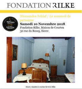 Fondation Rainer-Maria RILKE à Sierre le Samedi 10 Novembre 2018