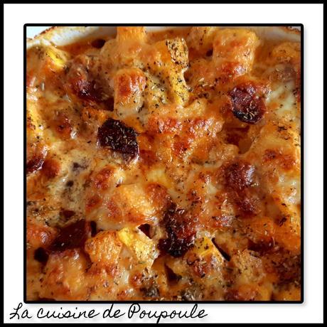 Gratin de courge, chorizo et mozzarella