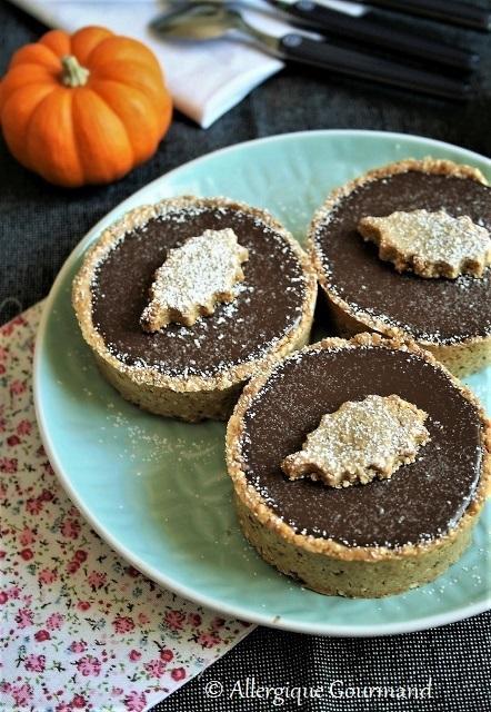 Tartelettes à la crème d'amande au chocolat { sans gluten, sans lait, sans oeufs}