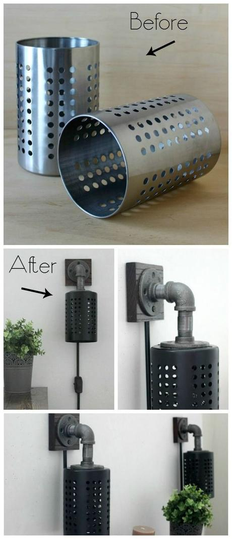 ikea hack lampe diy applique industrielle - blog déco - Clem Around The Corner