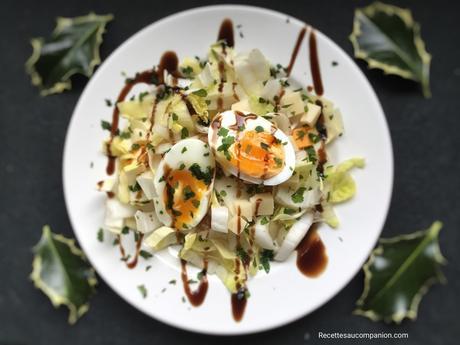 Salade d'endives noix emmental et son œuf mollet au cookeo