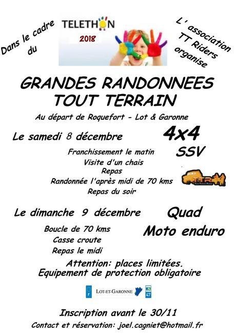 Rando 4X4, quad, moto et SSV Téléthon des TTR à Roquefort (47), le 8 et 9 décembre 2018