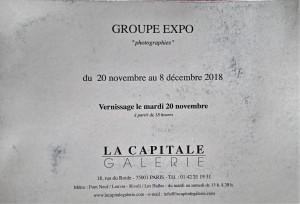 Galerie La Capitale    « Photographies »  20 Novembre au 8 Décembre 2018
