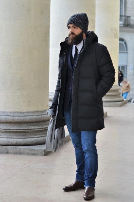 Doudoune + Bonnet + Gant + écharpe HEATTECH by Uniqlo + chemise sans repassage Uniqlo