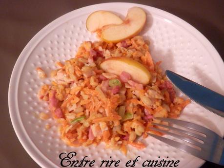 Poêlée d'Ebly aux légumes, à la pomme et aux lardons
