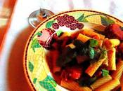 "Pâtes ""tomates poêle"", avec aubergine"