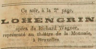 Mars 1870 -Judith Gautier raconte le premier Lohengrin en français au théâtre de la Monnaie