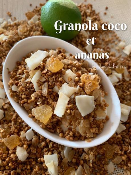 sweet  kwisine, granola, homemade, coco, ananas, sirop batterie, breakfast, quinoa soufflé, flocons d'avoine, martinique, guadeloupe, petit déjeuner