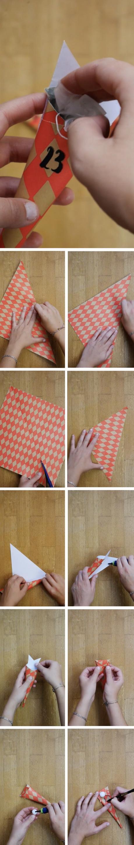 calendrier avent diy cônes cadeaux lutin pompons blog déco clem around the corner