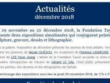 Fondation TAYLOR nouvelles expositions partir Novembre 2018