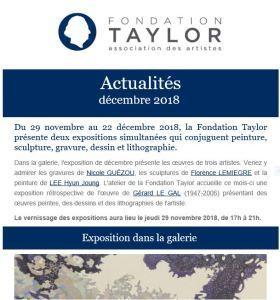 Fondation TAYLOR de nouvelles expositions à partir du 29 Novembre 2018