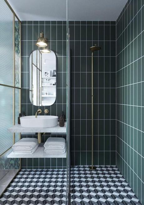 deco graphic salle de bain mix and match vert noir blanc carreaux douche originale