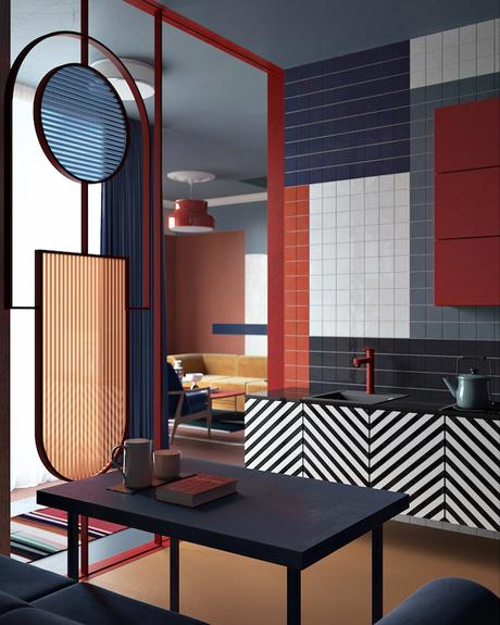 deco graphic mix and match fou couleurs block motif salon cuisine rouge bleu faïence noir blanc