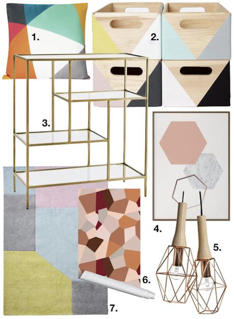deco graphic décoration tapis coussin étagère boite affiche vert rose jaune