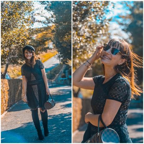 look-robe-noire-cuissardes-casquettes-sac-louisvuitton-papillon-rayban-retro