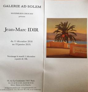 Galerie AD SOLEM   exposition Jean-Marc IDIR  11/12/2018 au 19 Janvier 2019