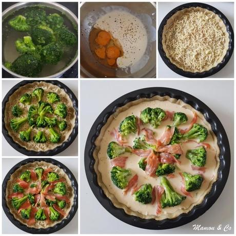 Tarte aux brocolis et au saumon fumé