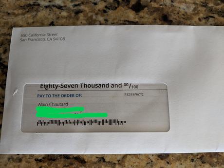 Un chèque de 87 000 dollars dans le courrier !