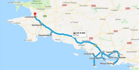 Itinéraire jour 1 à jour 3 en Bretagne