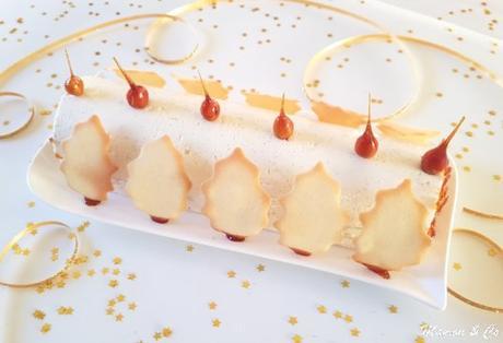 Bûche vanille, caramel et spéculoos