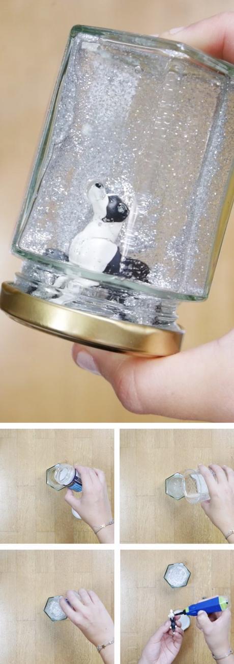 recycler des pots en verre boule à neige diy chien blog déco clem around the corner