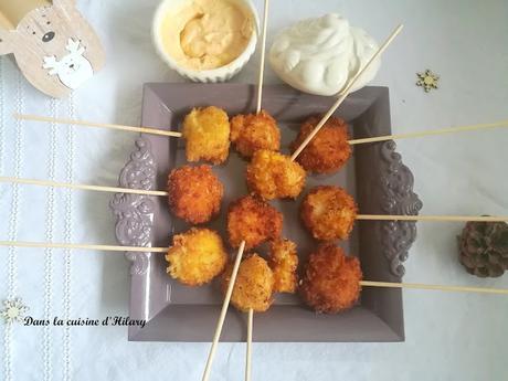 Sucettes gourmandes aux Saint-Jacques et sa mayonnaise de corail