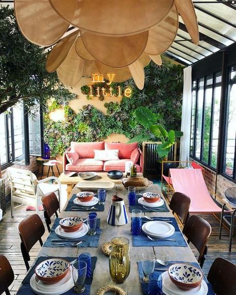 design suspension géante pale Georges store salle à manger verrière urban jungle - blog déco - Clem Around The Corner