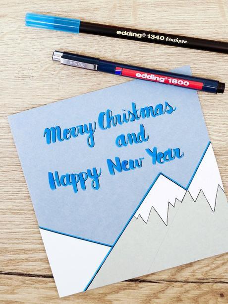 carte de voeux fin d'année calligraphie montagne feutre blog déco clem around the corner
