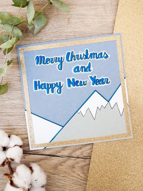 carte de voeux fin d'année montagne feutre eucalyptus fleur de coton blog déco clem around the corner