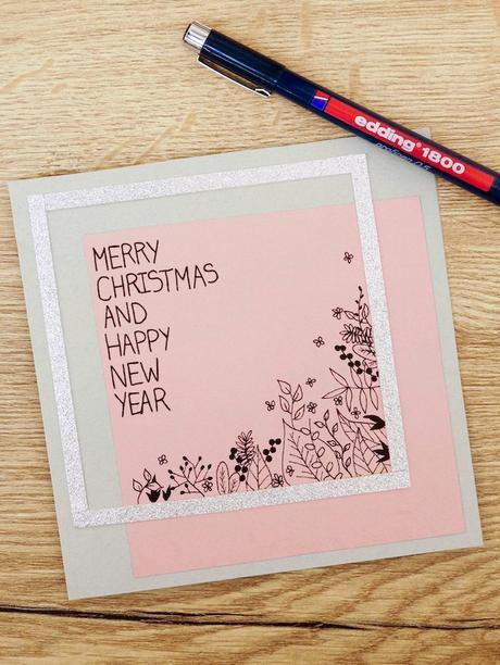 carte de voeux fin d'année fleurs design dessin stylo rose blog déco clem around the corner