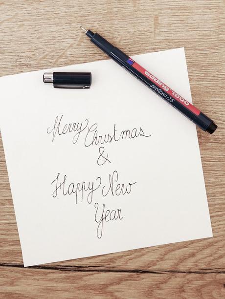 carte de voeux fin d'année festive calligraphie papier scotch paillettes feutres fanions blog déco clem around the corner