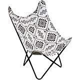 Promobo - Fauteuil Chaise Siège Papillon en Coton Design Ethnique Noir Blanc