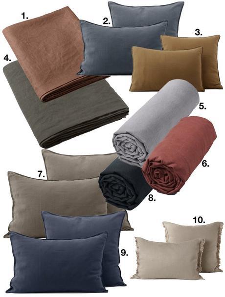 linge de lit en chanvre textile coussin housse drap couette couverture lit chambre blog déco clem around the corner