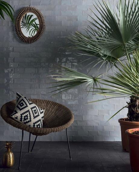 salle de bain theme nature ardoise pierre sombre décoration masculine - Blog déco - Clem around the corner